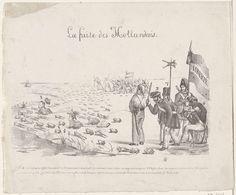 Anonymous | Vlucht van de Hollanders, 1830, Anonymous, 1830 - 1831 | Spotprent op de terugtrekking van de Nederlandse troepen uit België, november 1830. Belgische opstandelingen met de vlag 'Liberté' verjagen een groep kikkers van het land in het water. Onder de kikkers bevinden zich koning Willem I en prins Frederik. Een opstandeling pist op een kikker, van een andere kikker worden de poten afgesneden en een andere is op een speer geprikt. Met onderschrift 1-7.