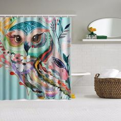 Owls Decor Floral Owl Design Waterproof Fabric Shower Curtain And Hooks Bathroom Decor 147.5 x 180cm