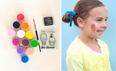 Use a rubber stamp and some non-toxic ink to stamp a picture onto the face or arm of party guests. Then it's just like paint-by-numbers–paint in the picture using face paints. So easy and you'll look like a face painting star!