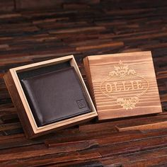 Engraved Monogrammed Men's Leather Wallet Black or Brown with Wood Box - Rion Douglas Gifts - 1