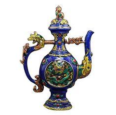 Cuivre Antique Teapot Artisanat Divers Collection exquis Décoration émail coloré dragon Vin Flask: Matière: laiton De préférence, pour…