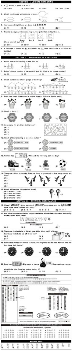 imo 2nd level sample papers class 1 sample paper kindergarten worksheets math olympiad