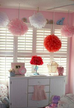 I made a bunch of tissue pom poms for my daughters room and they really are soft and sweet Girls Room Design, Bedroom Decor For Teen Girls, Daughters Room, To My Daughter, Tissue Pom Poms, Kids Decor, Home Decor, Blog Design, Girl Room