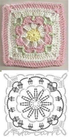 Crochet Granny Square Patterns Crochet Granny Square Rose S - Salvabrani Crochet Stitches Chart, Granny Square Crochet Pattern, Crochet Flower Patterns, Crochet Mandala, Crochet Diagram, Crochet Squares, Crochet Blanket Patterns, Crochet Motif, Crochet Flowers