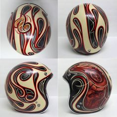 Custom Bell helmet in flames and air brush with ivory, black, and red paint.
