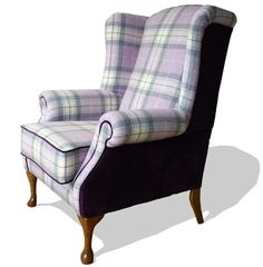 The Highlander Tartan Armchair: Upholstered by Feather & Weave, Custom-made in your choice of fabric: delivered throughout Ireland & UK Wingback Armchair, Chair Upholstery, Chair Fabric, Sofa Chair, Upholstered Chairs, Armchairs, Funky Furniture, Shabby Chic Furniture, Furniture Makeover