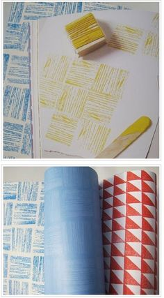 Wrap yard around a block & stamp.  A Simple Geometric Stamped Card | 49 Awesome DIY HolidayCards