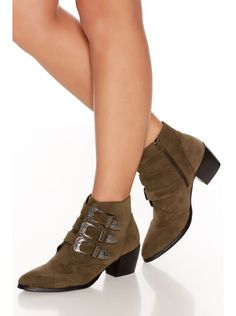 Khaki Western Buckle Ankle Boot