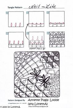 Neit-Lite. Tangle Pattern and Example by Annette Plaga Lodde / LonettA.