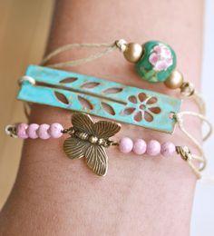 Butterfly garden.friendship,stacking,string, bracelet set. Tiedupmemories