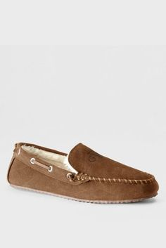 Mens Regular Suede Moccasin Slippers - 10 - BROWN Lands End fs2kr