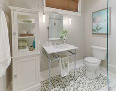 Basement bathroom - love gray and blue tones