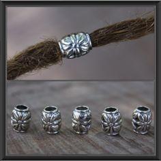 10 (4.5mm) Tibetan Silver Flower DREADLOCK BEADS 4.5mm Hole DREAD Hair Beads by lyndar85 on Etsy