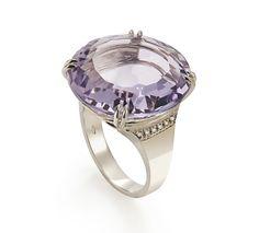 H.Stern Joias - Anel de Ouro Nobre 18K com ametista e diamantes - Coleção Rua das Pedras