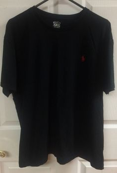 Polo By Ralph Lauren Solid Black Short Sleeve Crew Neck T-Shirt Top Size Large…