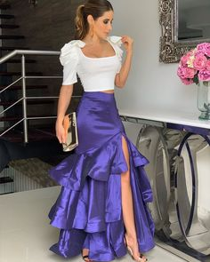 Two Piece Long Prom Dress , Satin Prom Dress 1683 - Renee Marino Prom Dresses A Line Prom Dresses, Cheap Prom Dresses, Evening Dresses, Looks Chic, Couture, African Fashion, Designer Dresses, Beautiful Dresses, Fashion Dresses