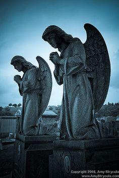 Angel statues.