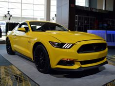 Yellow Ford Mustang 2014 model