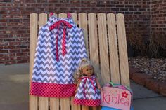 Girl's Boutique Pillowcase Dress with Matching Doll Dress...FITS AMERICAN GIRLS...Gray Medium  Chevron and Hot Pink with Red Polka Dots...
