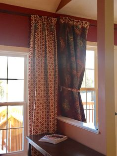 Raised curtain rods and had pinch pleated drapes made Look Dark, Dark Furniture, New Room, Curtain Rods, Family Room, Curtains, House, Home Decor, Blinds