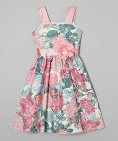 Pink & Green Floral Dress - Infant, Toddler & Girls