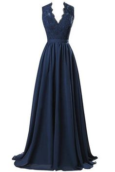 Nina V-neck Long Chiffon open Back Bridal Prom Evening Dress Navy 10