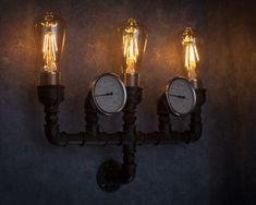 Wall sconce / Steampunk lamp / Rustic home decor / Gift for men / Farmhouse decor / Home decor / urban light by TrUbanCrafts on Etsy Candle Sconces, Wall Sconces, Loft Lampe, Lampe Steampunk, Edison Lampe, Home Decor Lights, Rustic Lamps, Art Deco Lighting, Wooden Lamp