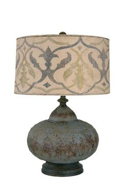 antique blue table lamp but with a burlap lamp shade instead