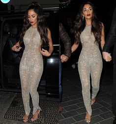Nicole Scherzinger shows a hint of flesh in sheer embellished catsuit