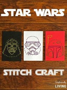 Need a fun Star Wars craft to make with the kids? Give this Star Wars Stitch Craft + Free Printables a try! Star Wars Crafts, Geek Crafts, Easy Diy Crafts, Crafts To Do, Kids Crafts, Zoo Crafts, Movie Crafts, Kids Diy, Theme Star Wars