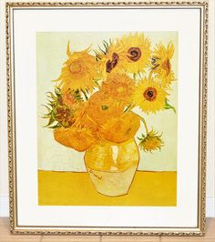 Vincent Van Gogh c. 1888 Sunflowers Print With White Matting