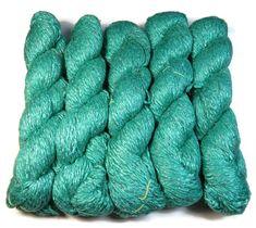 Mulberry Silk Handspun Yarn ,Twisted Zari/Lurex and transparent glass Beads. Color: Seagreen