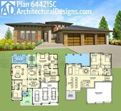 Architectural Designs House Plan 64421SC is perfect for your rear-sloping lot. It gives you over 2,500 square feet of living on the main level plus an optional finished lower level. Ready when you are. Where do YOU want to build?