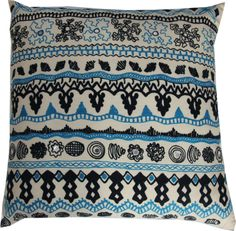Gorgeous cushion with blue and black chain stitch detail incorporating mirror discs on a cream background.  Reverse of cushion is dark navy cotton.  Handmade in India.  Includes New Zealand made polyfill inner.  Dimensions: 60x60cm