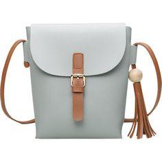 Buckle Strap Tassel Crossbody Bag Light gray (470 MXN) ❤ liked on Polyvore featuring bags, handbags, shoulder bags, crossbody purses, cross body, tassel purse, tassel handbag and crossbody handbags