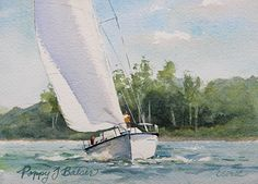 "Summer's Day Sail by Poppy Balser Watercolor ~ 5 x 7"" Sold"