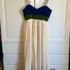 Anthropologie blue and green dress size 10 Green and blue velvet sweetheart top. Skirt is light and airy. Thick straps with blue and green details. Falls to just below the knee. Size 10 Anthropologie Dresses