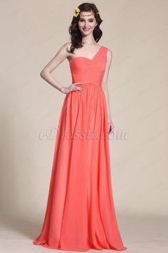 Robe demoiselle d'honneur corail longue col asymétrique (07151357) #mariage #edressit #robe #corail