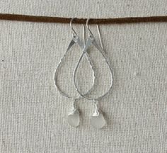 Sterling Silver Seaglass Earrings / Hand by mysmallhawaiianhome
