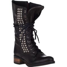 STEVE MADDEN SHOES Tropador Tall Boot Black Leather ($170) ❤ liked on Polyvore