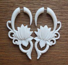 Fake Gauges - MALEE - Hand Carved Tribal Earrings - Flower Design - Natural White Bone. $23.00, via Etsy.