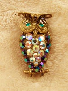 Brooch Pin Owl Figural Aurora Borealis Western Germany Vintage Jewelry | VintageTreasuresFound - Jewelry on ArtFire