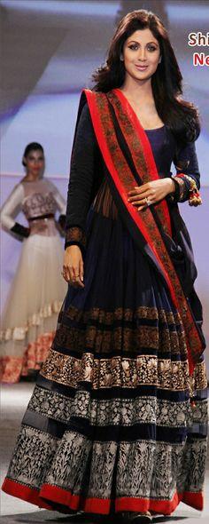 $145.56 Silpa Blue Net Party Wear Long Anarkali Salwar Kameez 24182
