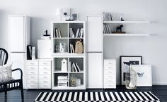Combine pieces from multiple product families and still have a cohesive look that is completely your own! (shown here: JOSEF, HELMER, LACK and EXPEDIT)