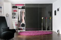 Sliding door built in fitted wardrobe.