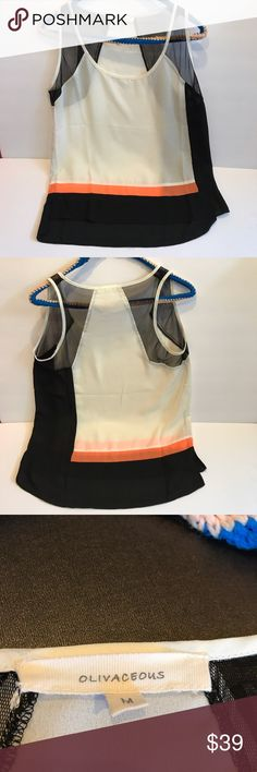 Black orange and white tank top Size medium sleeves and upper back are mesh.  great shirt no snags.Purchase shoes in separate listing. I GiveBundle Discounts! Olivaceous Tops Tank Tops