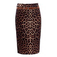 Cheetah Print Knee Length Pencil Skirt found on Polyvore