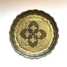 Antique Florentine Tray. Small Italian Serving Tray. Wooden