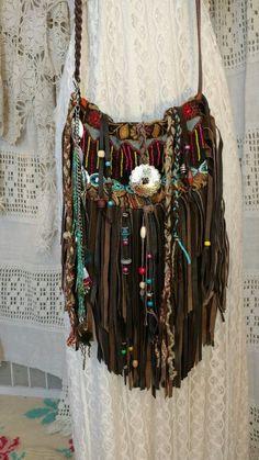Handmade Brown Leather Fringe Bag Hippie Boho Hobo Cross Body Purse tmyers #Handmade #MessengerCrossBody