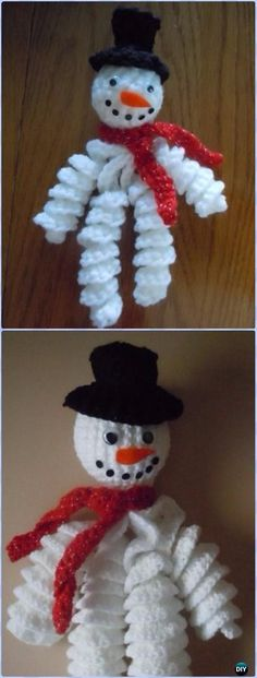 Crochet Curly Snowman Ornament Free Pattern - Amigurumi Crochet Snowman Stuffies Toys Free Patterns